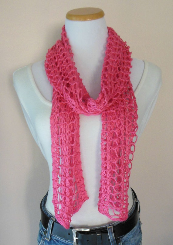 Hot Pink Scarf Hand Knit Lacy Open Weave Light Weight Fashion