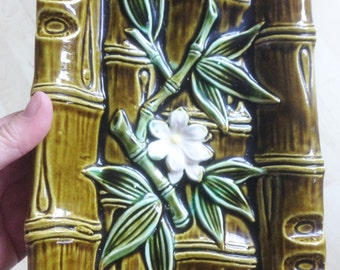 Majolica rectangular plate dish with bamboo and flowers design made in Japan  No damage