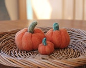 Wool FALL PUMPKINS Autumn Orange Home decor Felted Country Rustic Handmade Gift