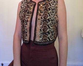 70s Style Knit Crop Button Vest
