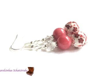 earrings porcelana red white porcelain