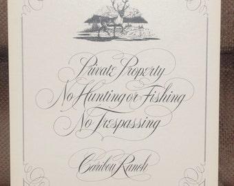 "Caribou Ranch Recording Studio ""No Tresspassing"" cardboard sign     RARE"