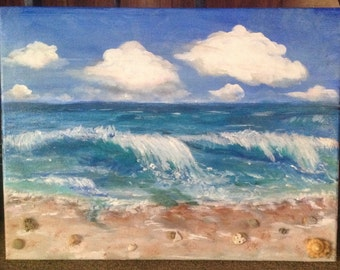 3D acrylic beach painting 11x14