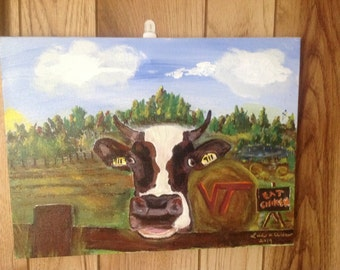 11x14 cow painting for Hokie fans