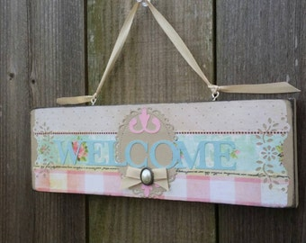 Welcome sign Shabby Vintage Chic Wood Block  Decor