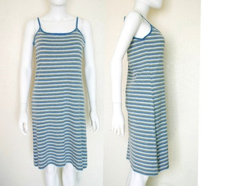 ON SALE 90's Stripey Tank Dress - Large Women's Clothing