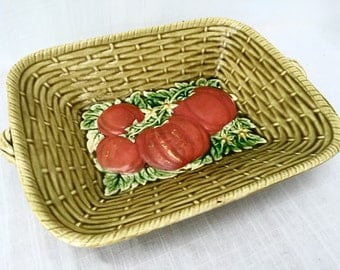 SALE Sarreguemines France Majolica Vegetable Basket Vintage French Pottery Dish Kitchen Decor
