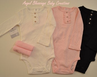 Baby Girl Cupcake Gift Set Long Sleeved Bodysuits Size 9 Months Unique Baby Shower or Welcome Baby Home Present READY TO SHIP with Gift Card