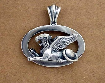 Guardian Angel Sphinx Pendant - Hand Crafted in 14k, 18k or Sterling Silver