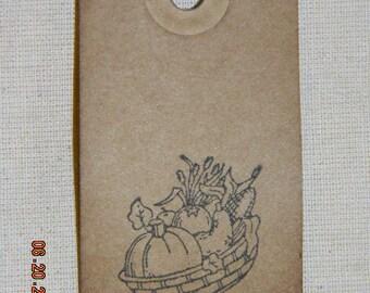 50 Small Primitive Fall Harvest Pumpkin Basket Handmade Hang Tags