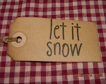 50 Medium Primitive Christmas Let it Snow Handmade Hang Tags
