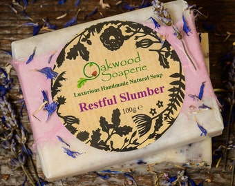Restful Slumber handmade soap with relaxing essential oils