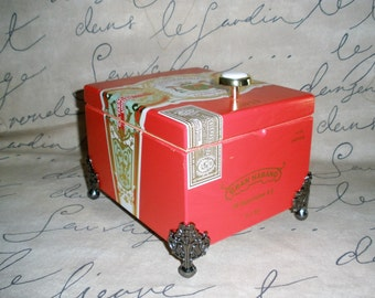 Cigar Box, Gran Habano, Red, Wooden, Valet, Stash Box, Jewelry Box, Watch Box- Must See!