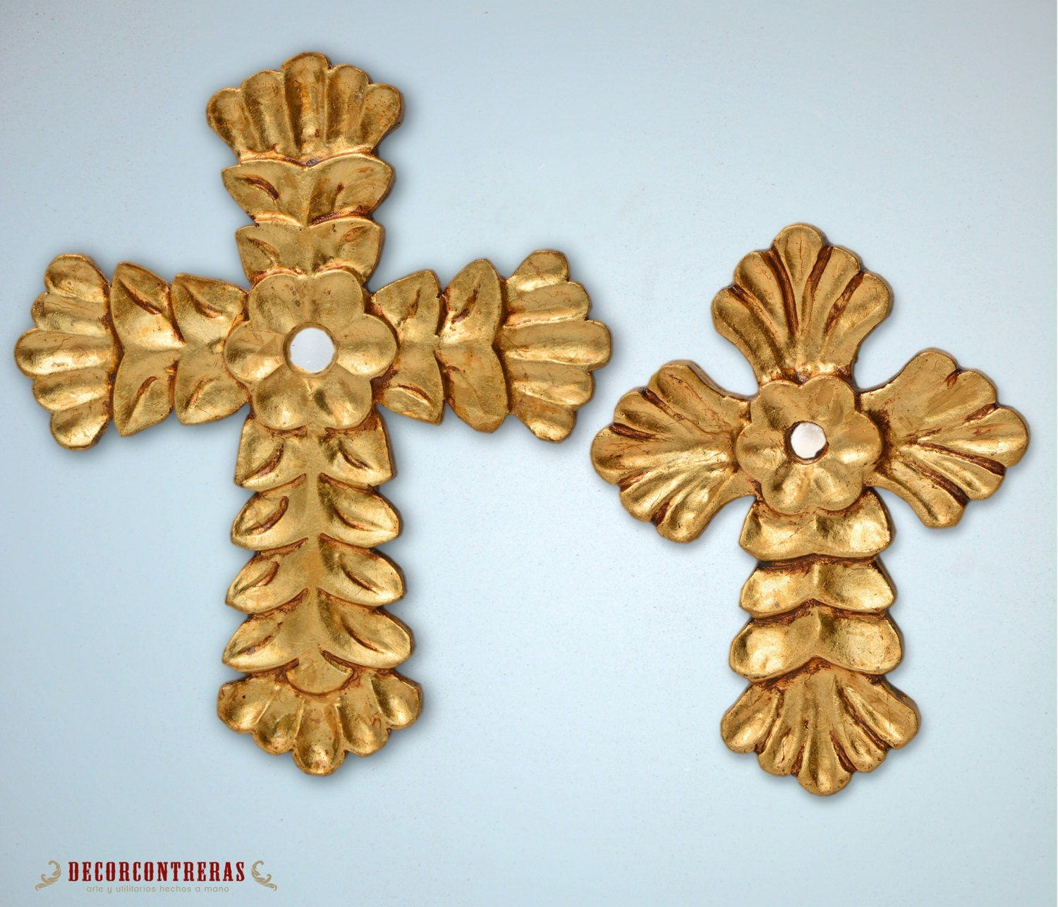 Gold Cross Wall Decor : Set gold decorative crosses for wall ligth of
