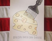 African American Cheese watercolor painting black power