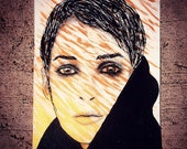 WINONA RYDER psychedelic portrait acrylic painting