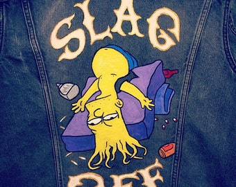SLAG OFF handpainted Levis slim fit denim jacket trucker bart simpsons size M