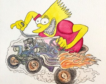 BART FINK rat fink bart simpson watercolor painting