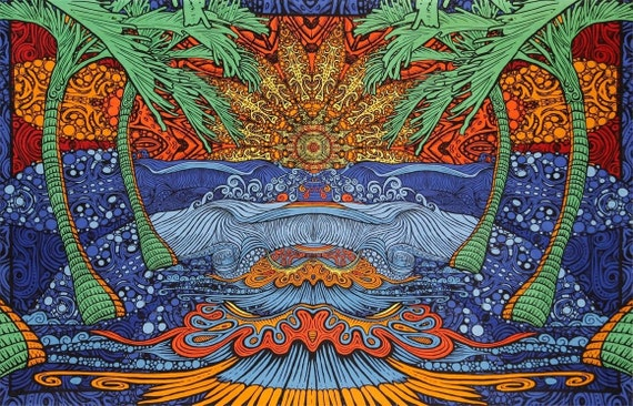 Psychedelic Epic Surf Wave Trippy Wall Hanging Tapestry Hippie