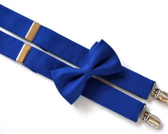 Royal blue suspenders and bow tie set for kids, Boys suspenders and bow tie, bow tie and suspenders