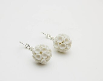 Floral earrings white Coral from polymer clay, Bridesmaid, Unique Gift Earrings, jewelry, accessories, white, gift