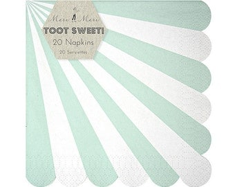 "SALE! Mint Stripe Napkins (Set of 20) - Meri Meri 6.5"" LARGE Napkins"