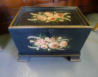 Painted wood storage box with floral design