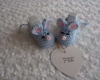 crochet baby booties/baby mice booties/mouse slippers/baby shower gift/christening booties/animal booties/newborn gift/blue mouse booties.