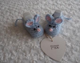 crochet baby mice booties/photo prop slippers/baby shower gift/christening booties/animal booties/newborn gift/blue mouse booties.