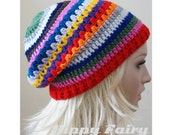 Rainbow hat,Womans Rainbow beanie , womans slouch beanie,  womans slouch hat ,Festival clothing