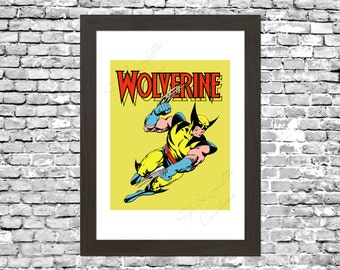 Retro Wolverine Comic Wall Art Printable Instant Download