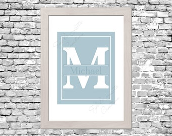 Custom Monogram Nursery Print in Pastel Blue, Pink or Yellow - Digital Download