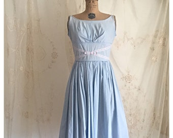 Vintage 1950's Cotton Day Dress /  Baby Blue Dress / Shelf Bust / Trim / size Small