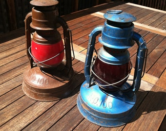 Dietz No. 100 Vintage Railroad Style Hanging Lanterns, Red Globes, Rustic Home Decor, Camping/Cabin Decor