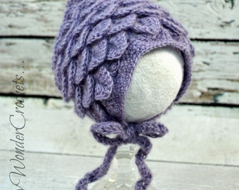 newborn crochet bonnet photo prop,baby girl crocodile bonnet,lavender bonnet,baby girl bonet,crochet photo prop bonnet,newborn baby girl hat
