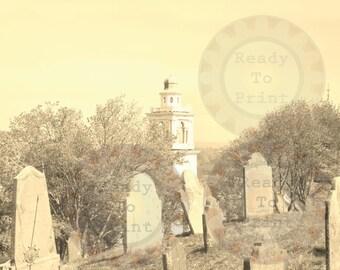 Cemetery Hill Fine Art Digital Photograph Goth Printable Plymouth, MA