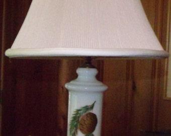 Pinecone Milk Glass Lamp 1950's