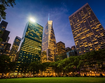 Skyscrapers in Midtown at night, seen at Bryant Park in Manhattan, New York - Photography Fine Art Print or Wrapped Canvas