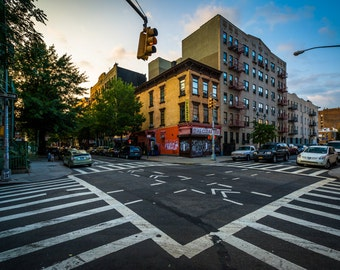 Intersection of Driggs Avenue and Fourth Street in Williamsburg, Brooklyn, New York - Photography Fine Art Print or Wrapped Canvas