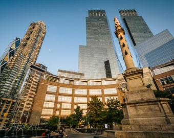 Christopher Columbus Statue and skyscrapers at Columbus Circle, in Manhattan, New York - Photography Fine Art Print or Wrapped Canvas