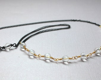Clear Crystal Quartz Necklace in Gold, Mixed Metal Jewelry, Gold Wire Wrapped Gemstones, Black Chain, Beaded Crystal