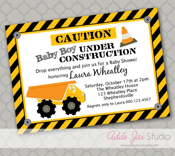 under construction baby shower printable 5x7 4x6 or 4x5 5 party