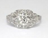 Art Deco 1930's 1.56ct t.w. Old European Cut Diamond Engagement Ring Platinum