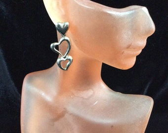 Vintage Triple Heart Dangle Earrings