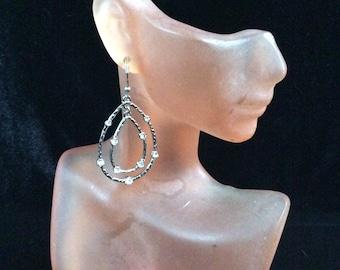 Vintage Silvertone & Rhinestone Dangle Earrings