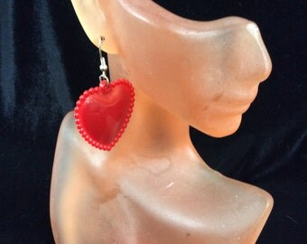 Vintage Red Heart Dangle Earrings