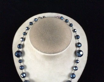 Vintage Metalic Blue Glass Beaded Necklace