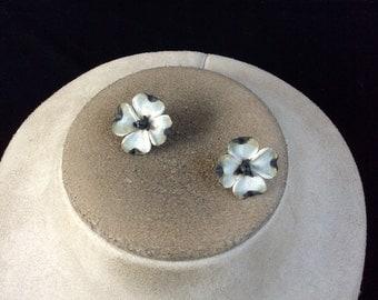 Vintage White & Black Floral Earrings