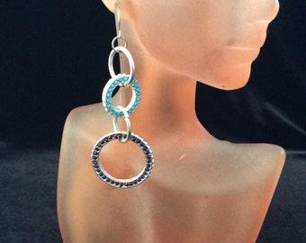 Vintage Long Blue Rhinestone/Stone Dangle Earrings