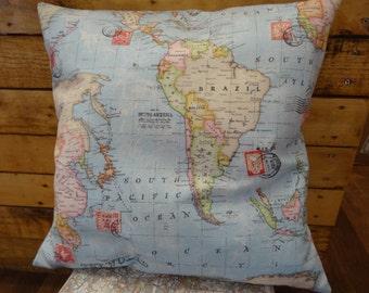 World Map Cushion 50cmx50cm